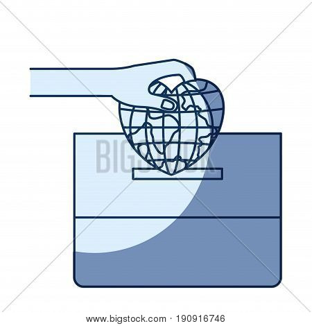 blue color silhouette shading of front view hand with flat globe earth world in heart shape depositing in a carton box vector illustration