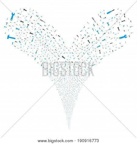 Repair Tools fireworks stream. Vector illustration style is flat blue and gray iconic repair tools symbols on a white background. Object fountain constructed from random pictographs.