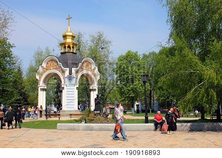KIEV, UKRAINE - MAY 1, 2011: This is a gazebo in the territory of the Orthodox Mikhailovsky Golden-Domed Monastery.