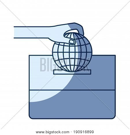 blue color silhouette shading of front view hand with flat globe earth world chart depositing in a carton box vector illustration