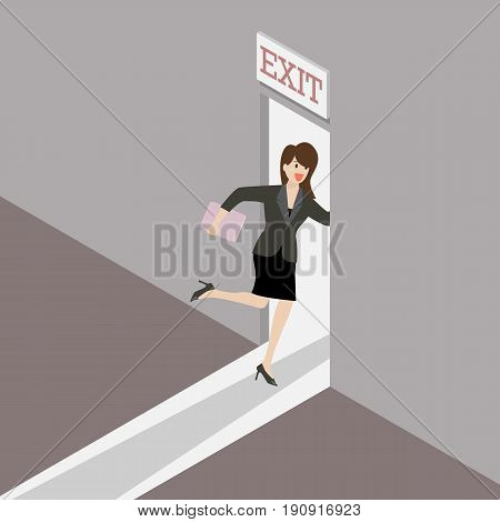 Business woman runs to the exit door. Business solution or exit strategyr