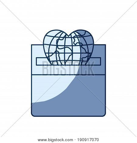 blue color silhouette shading of front view flat globe earth world in heart shape depositing in a carton box vector illustration