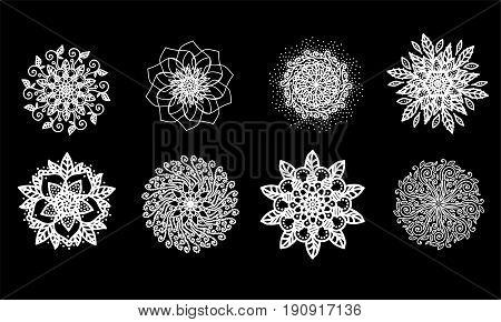 Set of vector mandalas. Vector illustration on black background. Illustration of mandala.