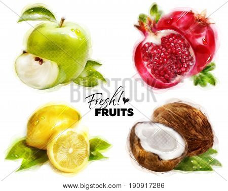 Set of Watercolor Fresh Fruits with Fine Dots Paper Texture. Hand Drawn Green Apple Pomegranate Lemon and Coconut. Isolated on White. Organic Eco Food for Cafe Menu Juice Label Sticker Banner.