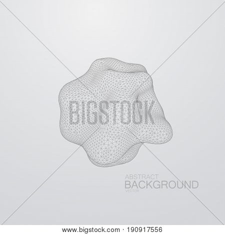 3D distorted sphere of wireframe. Futuristic vector illustration. Triangulated polygonal shape. Technology concept