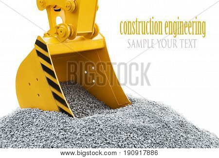 bucket of the tractor or excavator digging gravel isolated on white background. Text delete