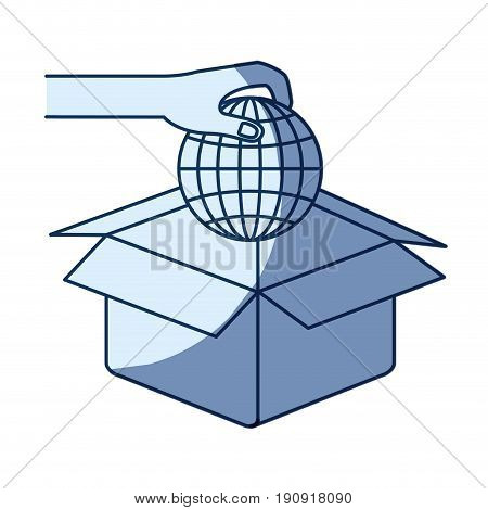 blue color silhouette shading of hand holding a globe earth world chart to deposit in cardboard box vector illustration