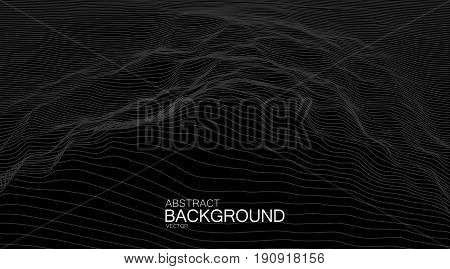 3D linear relief. Vector illustration of distorted cyberspace grid. Technology background. Outline landscape