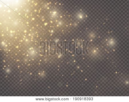 Gold glittering star dust, Vector transparent glow light effect