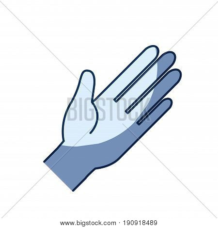 blue color silhouette shading of side view left palm of hands in symbol greeting vector illustration
