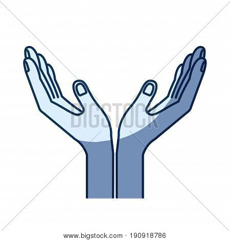 blue color silhouette shading of opened hands of symbol of receiving vector illustration