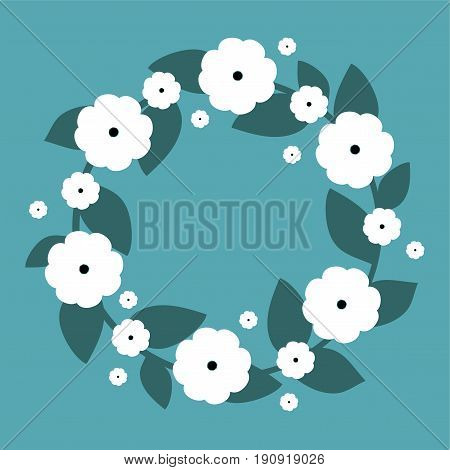 Cute wreath with white flowers. Vector wreath. Vector illustration.
