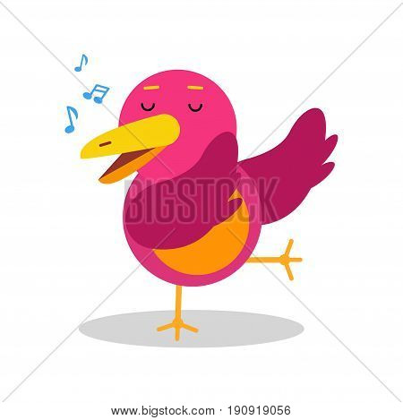 Colorful cartoon bird character in geometric shape singing vector Illustration isolated on a white background
