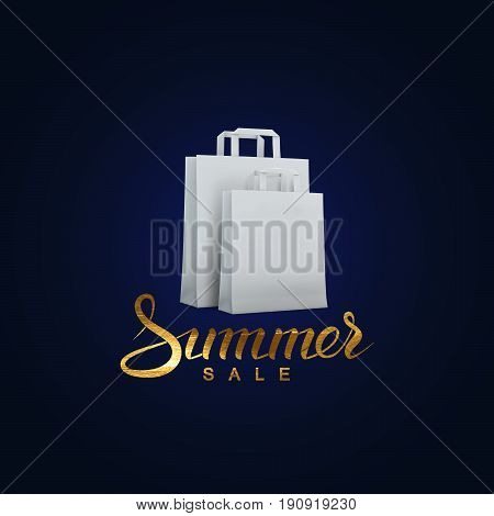 Summer sale. Vector handwritten lettering banner. Golden promotional sale label with white shopping bags.