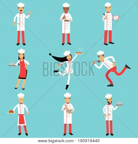 Professional kitchen staff characters at work. Chief cooks and bakers set of colorful Illustrations on a light blue background