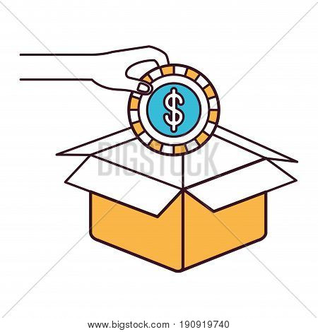 silhouette color sections of hand holding a coin with dollar symbol inside to deposit in cardboard box vector illustration