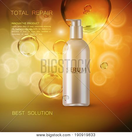 Anti wrinkles serum ads poster template. Cosmetics product. Cosmetic packaging mockup design. White bottle with oil droplets or bubbles. 3d vector fashion magazine illustration.