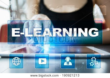 E-Learning. Internet education concept on virtual screen.