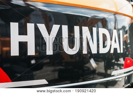 Moscow, Russia - may 30, 2017: group name Hyundai on the front of the car exhibition international specialized exhibition construction equipment and technologies CTT in Moscow.