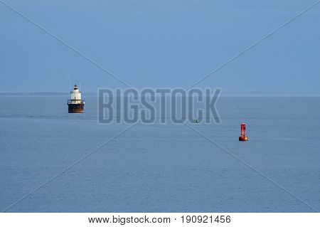 Butler's Flat lighthouse in Acushnet River in New Bedford Massachusetts