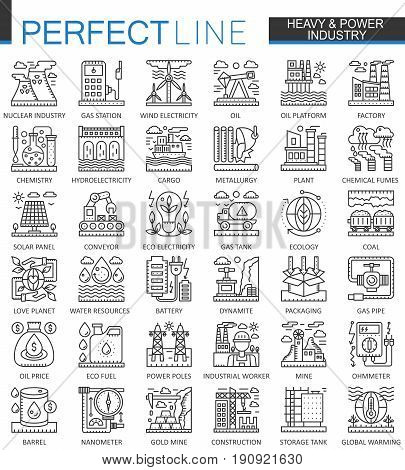 Heavy power industry outline concept symbols. Factory and renewable energy modern stroke linear style illustrations set. Perfect thin line icons