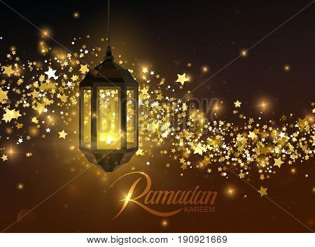 Ramadan Kareem. Vector islamic illustration of glowing arabic lantern and shiny stars and particles golden flow. Muslim holy month Ramadan postcard design