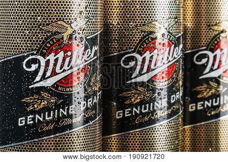 Moscow, RUSSIA - April 6, 2017: Miller beer global brand. Rotation video. Miller Lager Beer is the flagship product of United States of America