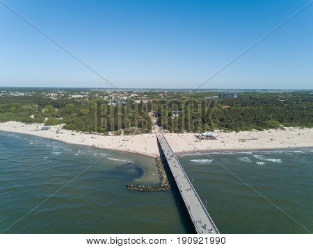 Palanga Lietuva Baltic Sea Seaside Aerial Drone Top View