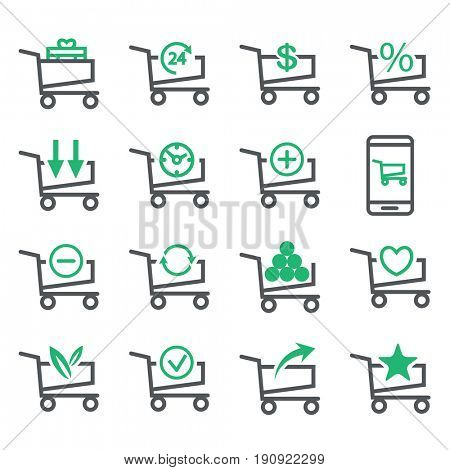 Set Shopping Cart isolated on white background. Business Concept options. Line Icons. illustration.
