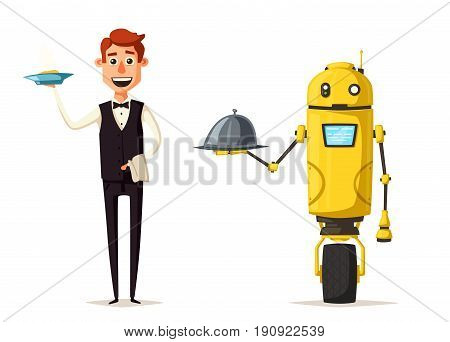 Funny waiter, cute character. Robot and person. Vector cartoon illustration. Man in uniform. Restaurant worker
