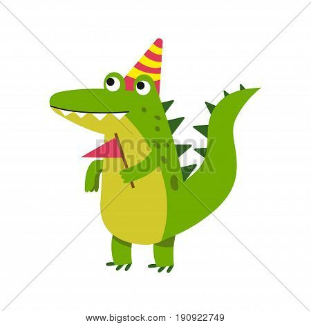 Cute cartoon crocodile character wearing party hat standing and holding pennant vector Illustration isolated on a white background