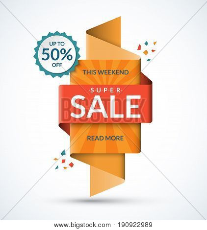 Sale banner. Discount label. Special offer vector template. Up to 50 percent off badge. Half price colorful sticker. Summer sale tag. Shopping background