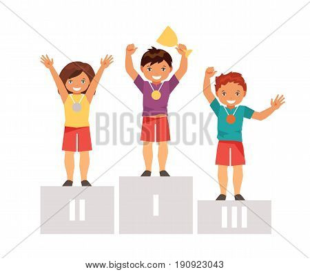 Children winners stand on the podium with the prize cup and medals. Children individual sport. A healthy way of life. Vector illustration