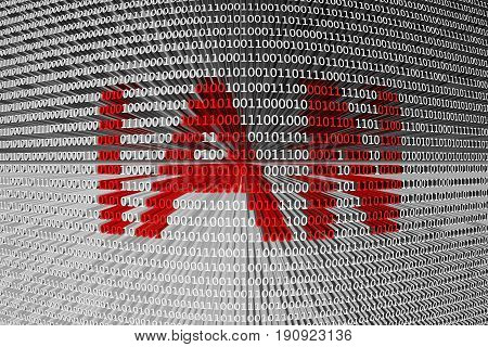 IAN in the form of binary code, 3D illustration