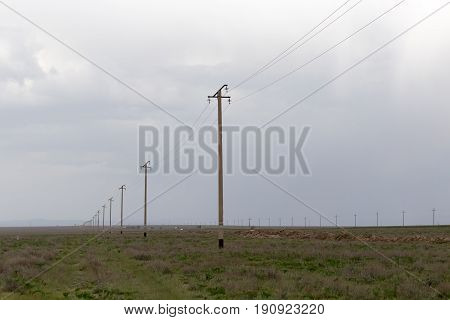 power poles in the desert . A photo