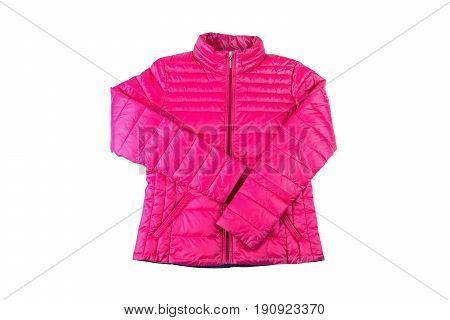 Female sport pink jacket isolated on white background.