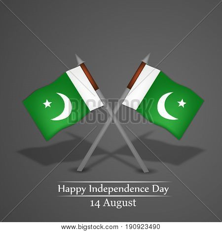 illustration of Pakistan Flags with Happy Independence day 14th August text