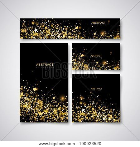Festive stationery design template with glittering golden paillettes, sparks and stars. Vector illustration. Holiday stationery, cover, postcard, greeting card, flyer, banner with confetti particles.