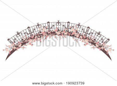 bridge span among pink flower blossom - spring season vector design