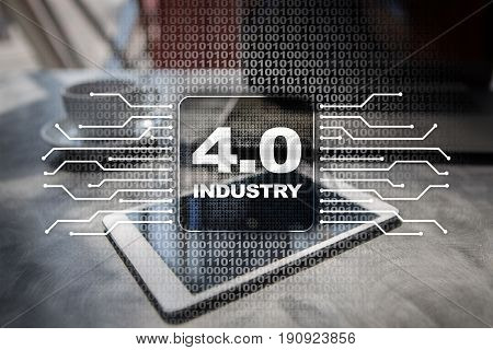 Industry 4.0 IOT Internet of things Smart manufacturing concept Industrial 4.0 process infrastructure. background.