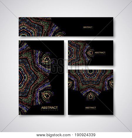 Festive stationery design template with glittering multicolored paillettes ornament. Vector illustration. Luxury stationery, cover, postcard, greeting card, flyer, banner with golden particles.
