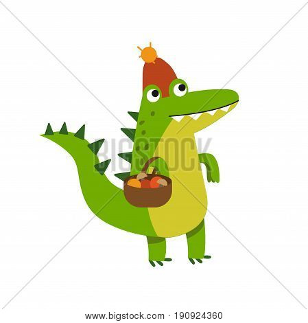 Funny cartoon crocodile character gathering mushrooms wearing knitted hat vector Illustration isolated on a white background