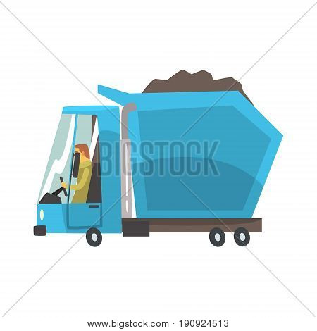 Blue heavy duty dump truck with coal, freight transport cartoon vector Illustration isolated on a white background
