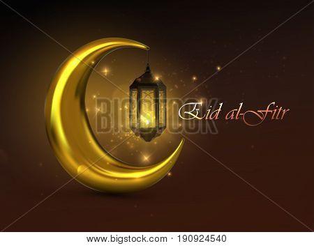 Eid al-Fitr. Vector islamic religious illustration of Eid al-Fitr label and crescent golden moon with glowing arabic lantern. Muslim Feast of Breaking the Fast postcard design