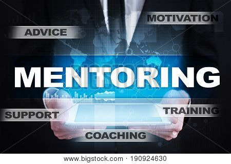 Mentoring on virtual screen. Education concept. E-Learning. Success