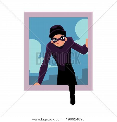 Thief, burglar breaking into house through window, cartoon vector illustration isolated on white background. Burglar, robber in mask and black suit going to rob a house, climbing in through window