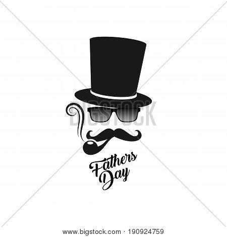 Fathers day. Gentleman's man mask logo vector illustration. Smoking pape retro design template