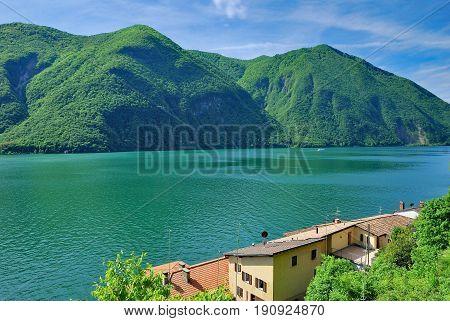 Village of Gandria at Lake Lugano in Ticino Canton,Switzerland