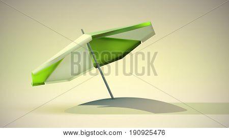 Green and white beach umbrella. Open sun parasol. Vector illustration. Summer beach holidays concept
