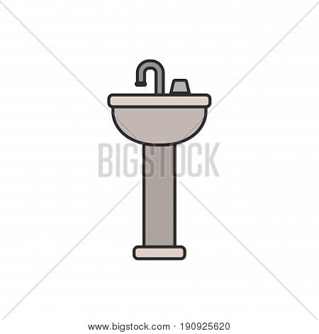 white background with color silhouette of washbasin with pedestal with thin contour vector illustration